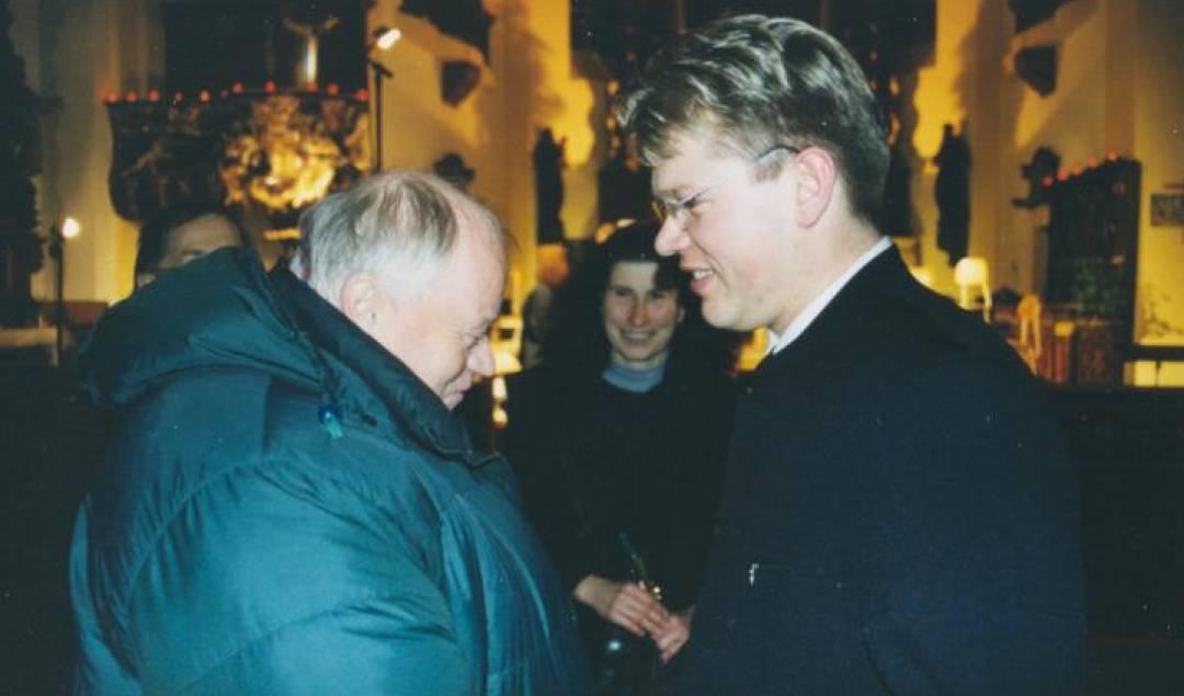 Skladatel Václav Hálek a sólista Martin Prokeš